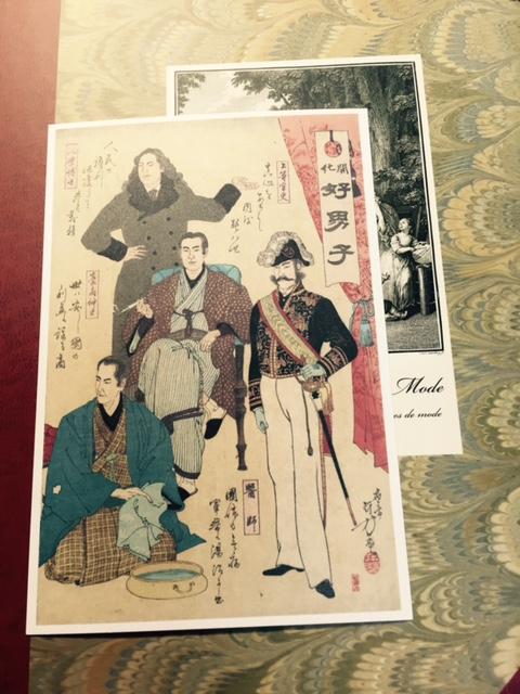 ee36081ef1c21 水野年方が1890年に描いた「開化好男子」の絵の右半分。ポストカードになって販売されています。できればぜひ会場で、全体をご覧くださいね。